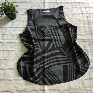 Loft black print sleeveless scoopneck blouse large